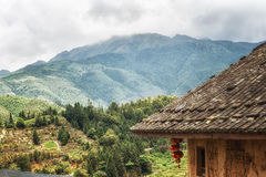 Traditional Hakka house details. View from a Traditional hakka earthen houses in china. classified as world unesco heritage, lnature landscape of the green Stock Photo