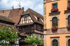 Traditional half-timbered architecture in Obernai, France Royalty Free Stock Image