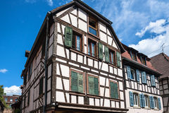 Traditional half-timbered architecture in Obernai, France Stock Photos