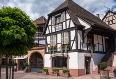 Traditional half-timbered architecture in Obernai, France Stock Images