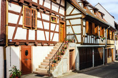 Traditional half-timbered houses in Alsace Royalty Free Stock Photo