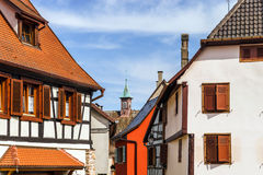 Traditional half-timbered houses in Alsace Stock Photo