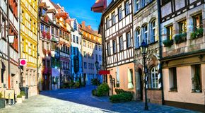 Old town of Nurnberg. Landmarks of Germany. Traditional half-timbered houses in old town of Nurnberg. Travel in Germany stock image