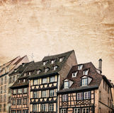 Traditional half-timbered houses street in Strasbourg, Alsace, France Stock Images