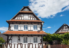 Traditional half-timbered houses in the streets of Hunspach in Alsace, France Royalty Free Stock Photo