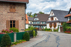 Traditional half-timbered houses in a streets of Seebach royalty free stock photos