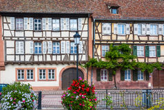 Traditional half-timbered houses in the streets of Wissembourg Royalty Free Stock Images