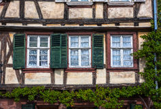 Traditional half-timbered houses in Wissembourg in Alsace Stock Photos