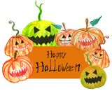 Traditional Halloween card with scary carved pumpkins, invitations for holiday of october stock illustration