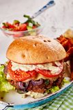 Traditional hamburger with all the trimmings. Including melted cheese, tomato, lettuce, onion and mayonnaise served in an old vintage dish with a side salad Stock Photography