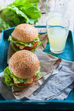 Traditional Hamburgers Fast Food Blue Tray Table Royalty Free Stock Photo