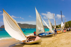 Traditional hand-built dinghies waiting to compete in an annual race in the windward islands Stock Images