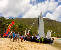 Traditional hand-built dinghies waiting to compete in an annual race in the windward islands Royalty Free Stock Photo