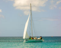 A traditional hand-built dinghy waiting to compete in an annual race in the windward islands Royalty Free Stock Photos
