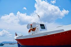 Red Traditional Greek Fishing Boat, Methoni, Greece Royalty Free Stock Photos