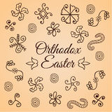 Traditional hand drawn simple folk ornament. Doodle set. Design for shrink egg wrap. Card for Ortodox Easter. Stock Photo