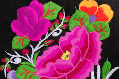 A traditional hand embroidery floral. Design on cotton fabric Stock Image