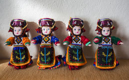 Traditional hand made Damal dolls. Ardahan, Turkey - January 17, 2017: Traditional hand made Damal dolls by Fidan Atmaca in Damal town of Ardahan, Turkey on Royalty Free Stock Photos