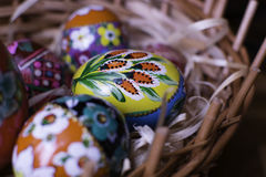 Traditional hand made easter egg. Traditional Polish easter eggs, hand painted stock images