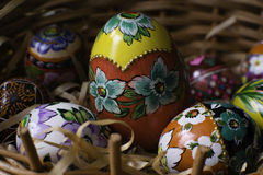 Traditional hand made easter egg. Traditional Polish easter eggs, hand painted stock photo