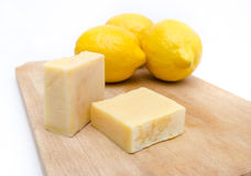 Traditional hand made lemon scented and extract soap on a wooden Royalty Free Stock Photography