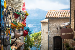 Traditional hand made pottery for sale in French Eze Stock Photography