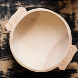 Traditional hand made wooden bowl Royalty Free Stock Photography
