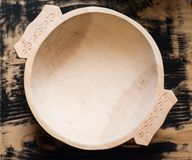 Traditional hand made wooden bowl Royalty Free Stock Images