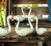 Traditional hand made wooden geese Stock Photos