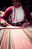 Traditional hand weaving in the Andes Mountains, Peru.  Stock Images