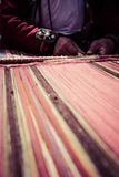 Traditional hand weaving in the Andes Mountains, Peru.  Royalty Free Stock Photos