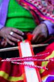 Traditional hand weaving in the Andes Mountains, Peru Stock Image