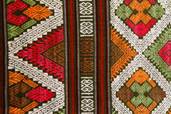 Traditional hand-woven fabrics in Thai style royalty free stock image