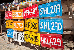 Traditional handcrafted Vehicle registration plates  for sale in. Traditional handcrafted vehicle registration plates like souvenirs for sale in Trinidad, Cuba Royalty Free Stock Image