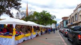 Traditional handicraft fair on San Blas square, Cuenca, Ecuador royalty free stock photography