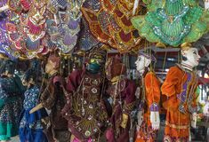 Traditional handicraft puppets sold in market, Myanmar royalty free stock photos