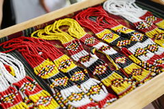 Traditional handicrafts, beaded necklaces Royalty Free Stock Photography