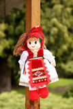 Traditional handmade doll - red dress Stock Images