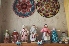 Traditional handmade dolls, folk art exhibition, royalty free stock image
