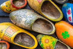 Traditional handmade Dutch wooden shoes Stock Photography