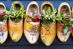 Traditional handmade Dutch wooden shoes Royalty Free Stock Photo