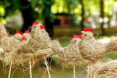 Traditional handmade hay chickens Stock Photography