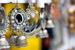 Traditional handmade jewellery in jaipur shot against a blurred background stock images