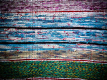 Traditional Handmade old colored carpet, striped pattern Stock Photos