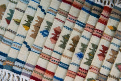 Traditional handmade romanian bookmarks. Detail of traditional romanian bookmarks in the traditional market in Romania.This bookmarks are made from woven wool in Stock Images