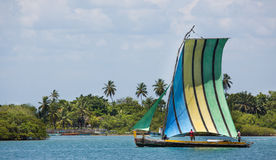 Traditional handmade sail boat in the amazon of Brazil. Royalty Free Stock Photography