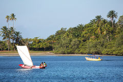 Traditional handmade sail boat in the amazon of Brazil. Stock Photos