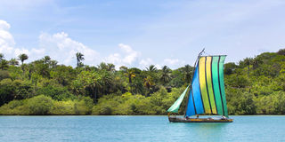 Traditional handmade sail boat in the amazon of Brazil. Stock Photography