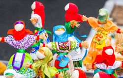 Traditional handmade straw dolls gift on the Shrovetide Stock Photos