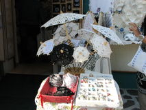 Traditional handmade umbrella by lace Royalty Free Stock Photography